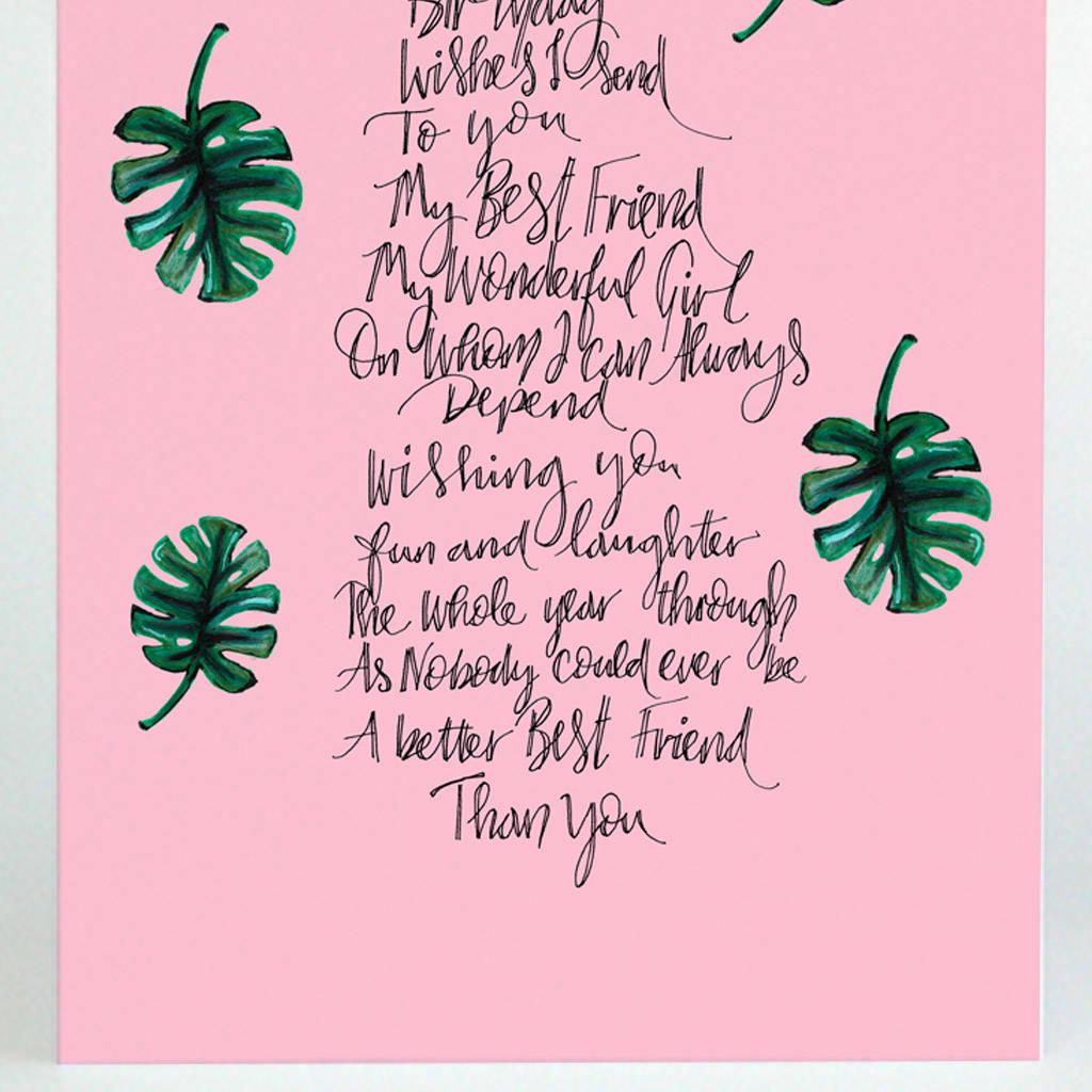 Best Friend Poem Birthday Card By De Fraine Design London