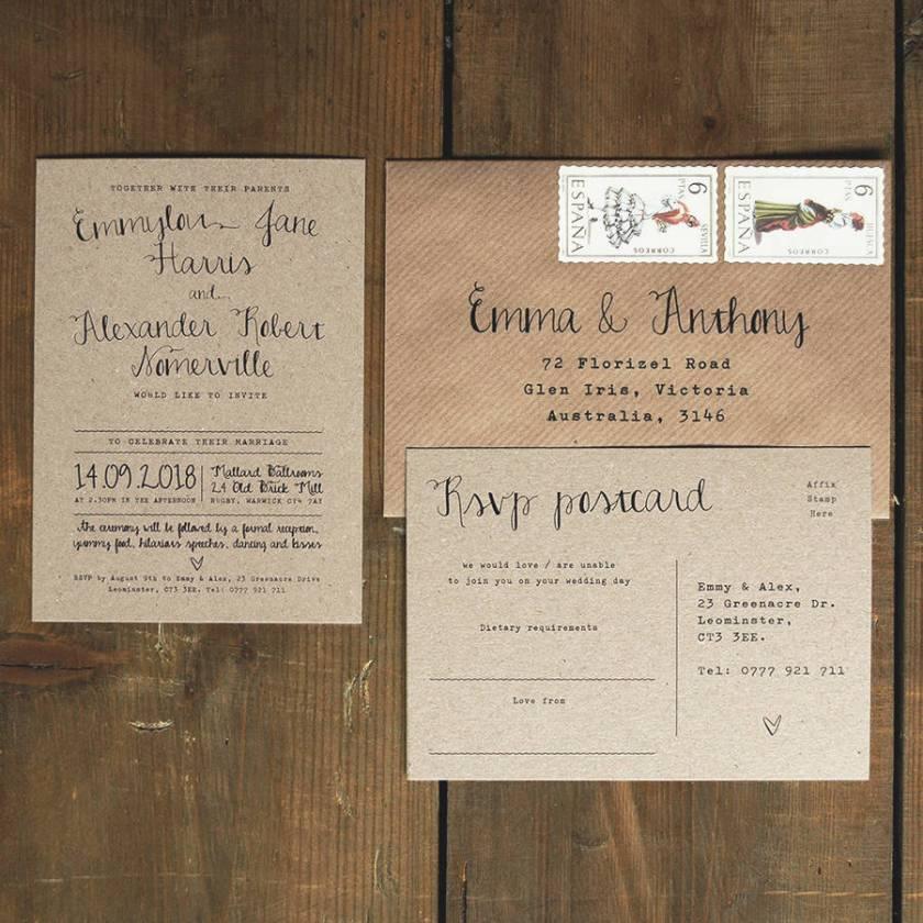 Calligraphy Kraft Wedding Invitation