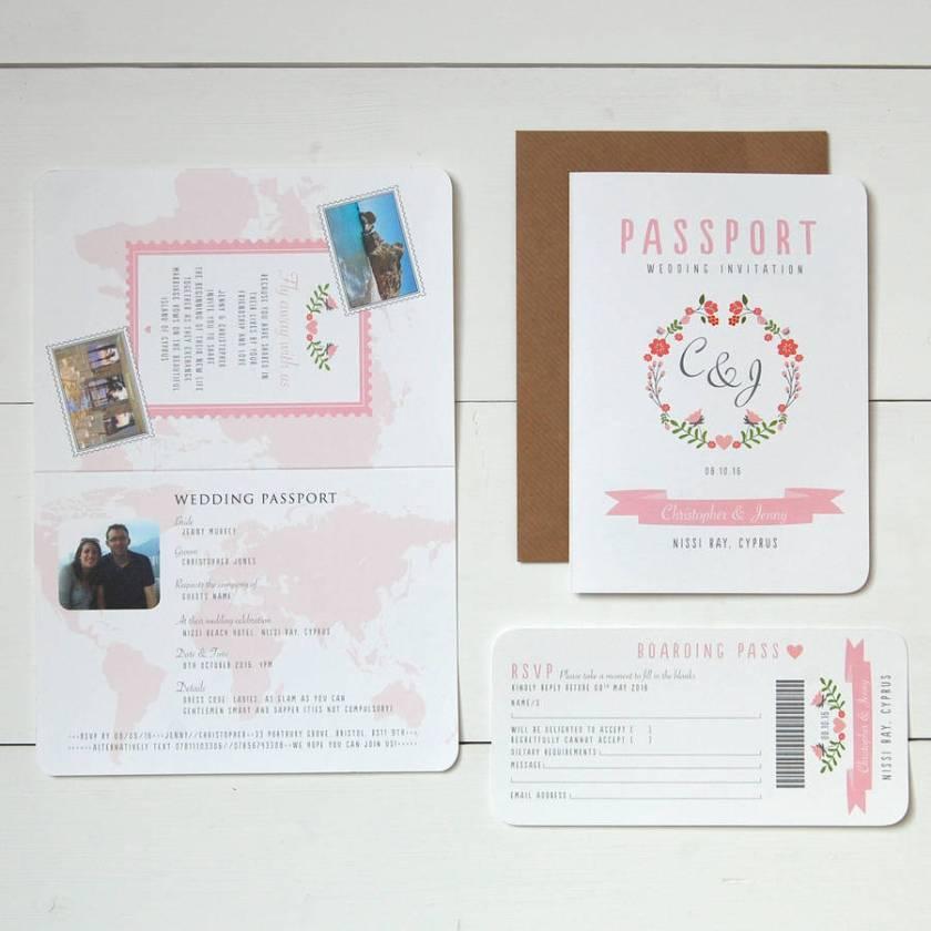Fl Wedding Pport Invitation Rsvp Set