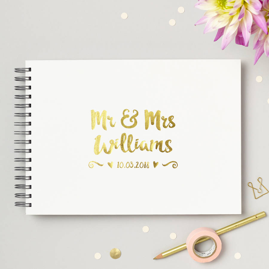 Personalised Mr And Mrs Wedding Guest Book By Love Give