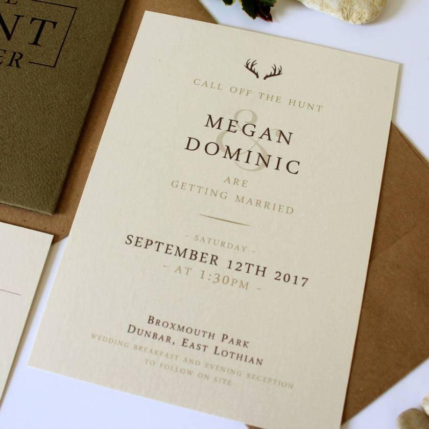 The Hunt Is Over S Pocket Wedding Invitation Suite
