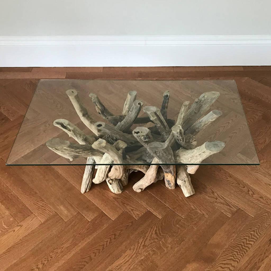 rectangular driftwood coffee table base