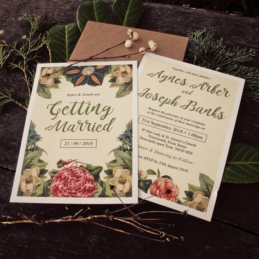 Botanical Fl Themed Wedding Invitations