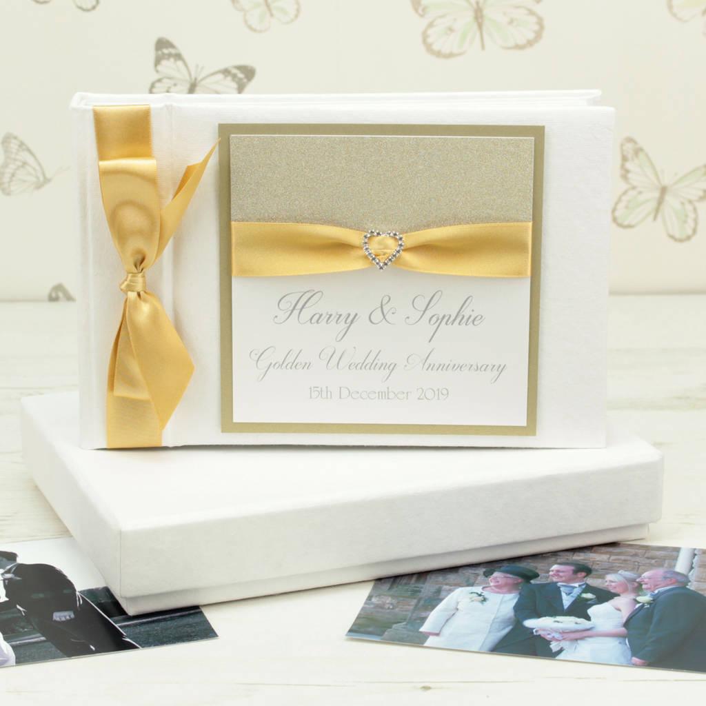 Golden 50th Wedding Anniversary Photo Album