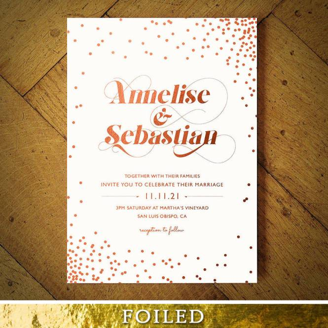 Celestial Rose Gold Foil Wedding Invitation