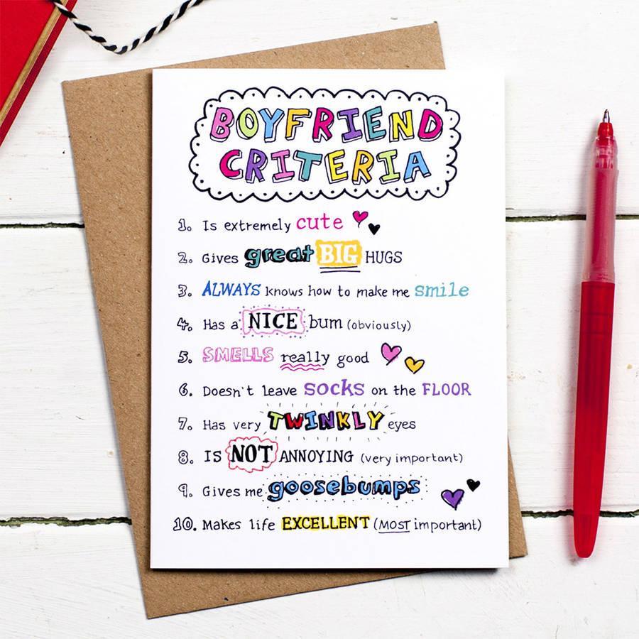 Boyfriend Criteria Card By Eskimo Kiss Designs