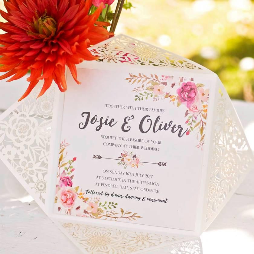 Peony Fl Design Laser Cut Wedding Invitation