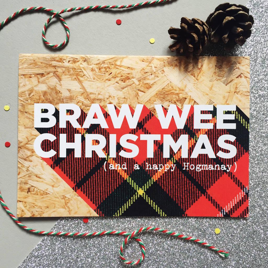 Packs Of Funny Tartan Scottish Christmas Cards By Hiya Pal