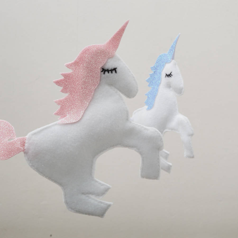 Felt Unicorn Cloud And Star Mobile By The Secret Craft