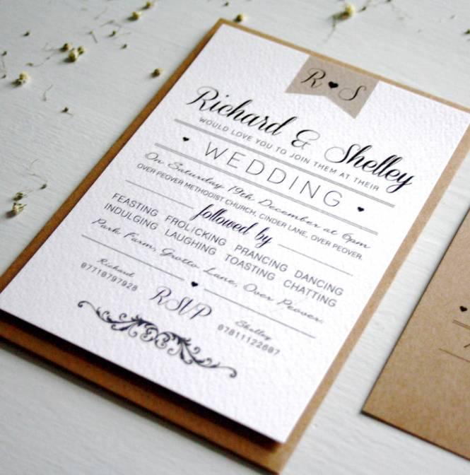 Elegant Type Vintage Wedding Invitation