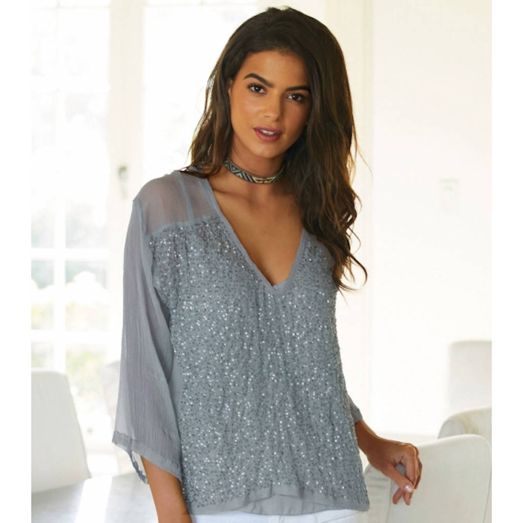 Charlie Joe Mayamia Light Grey Silk And Sequin Blouse By Aspiga