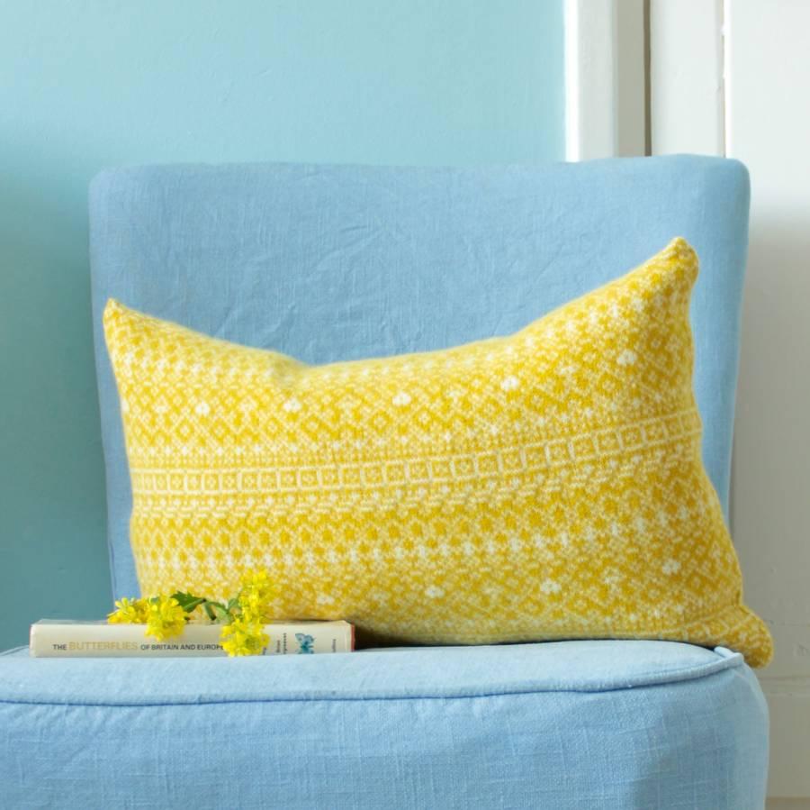 knitted fair isle rectangle cushion