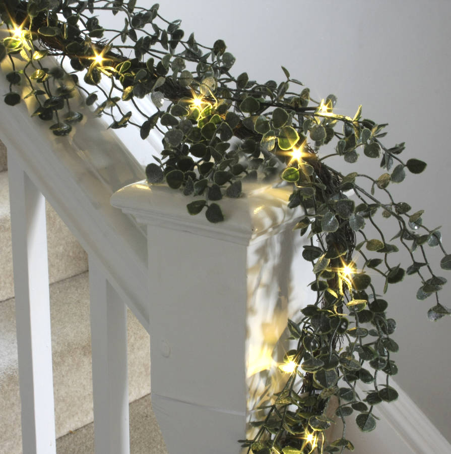 Pre Lit Frosted Eucalyptus Christmas Garland By Ella James