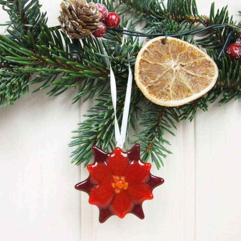 handmade glass poinsettia christmas tree decoration by jessica irena