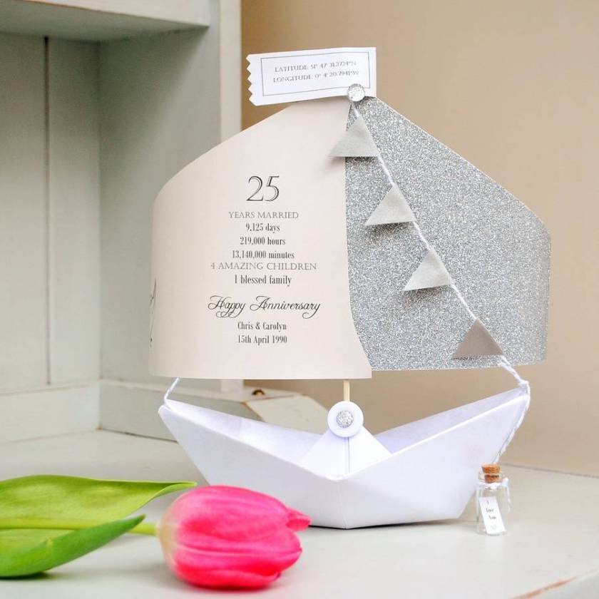 Silver Wedding Anniversary Paper Boat Card Traditional Scroll Font