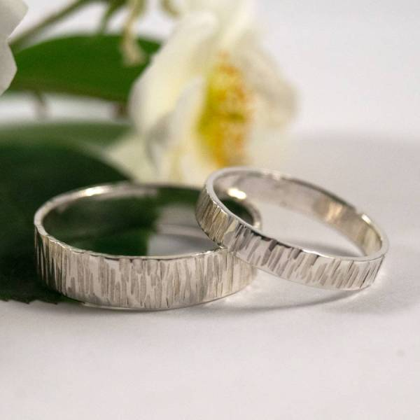 Bark Effect Wedding Bands In Sterling Silver Bark Effect Wedding Bands In Sterling Silver