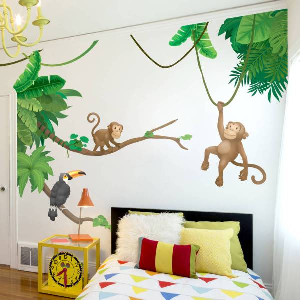 jungle monkey children's' wall sticker set by oakdene ...