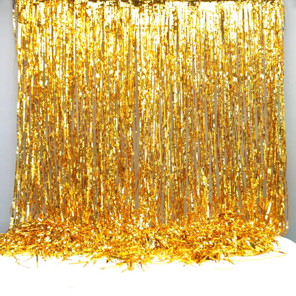gold foil party curtain backdrop decoration