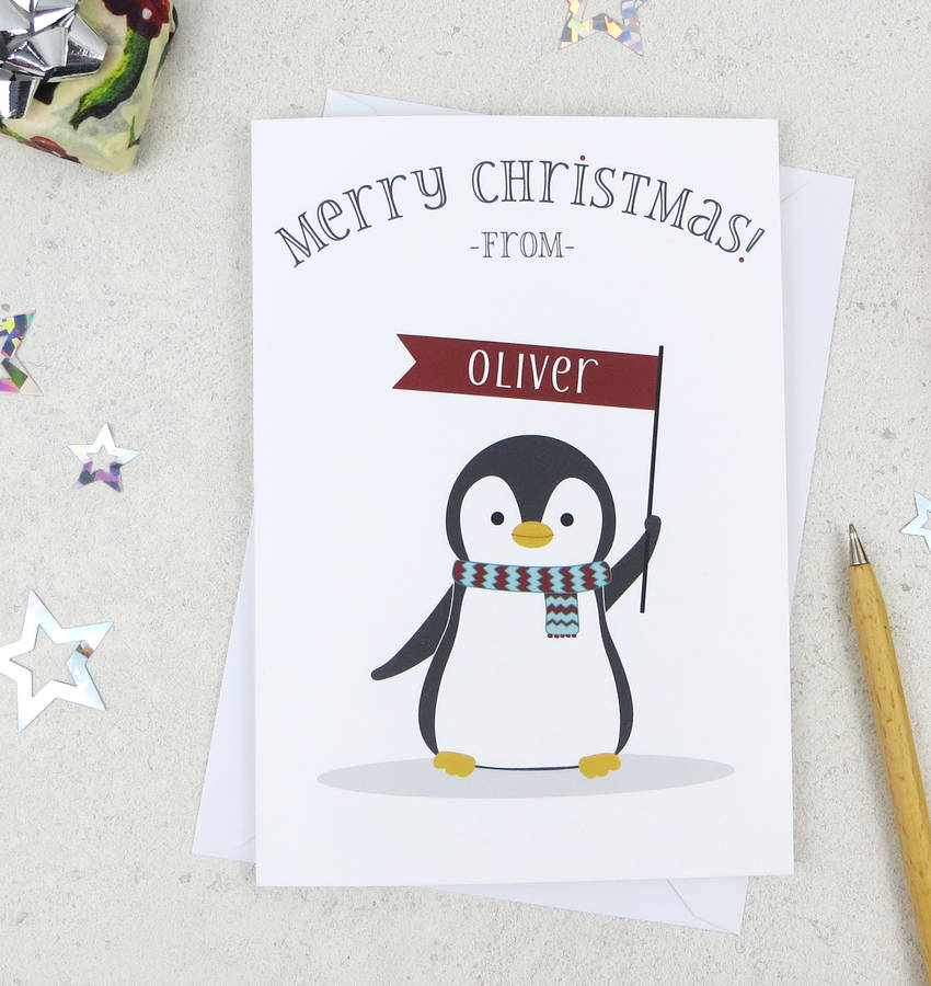 Cute Christmas Penguin Personalised Xmas Card By Wink