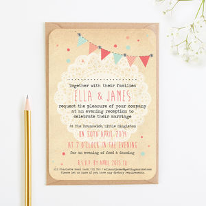 Bunting And Lace Gem Evening Invite
