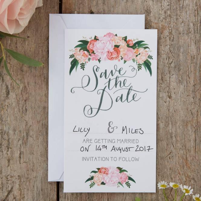 Boho Fl Save The Date Wedding Cards