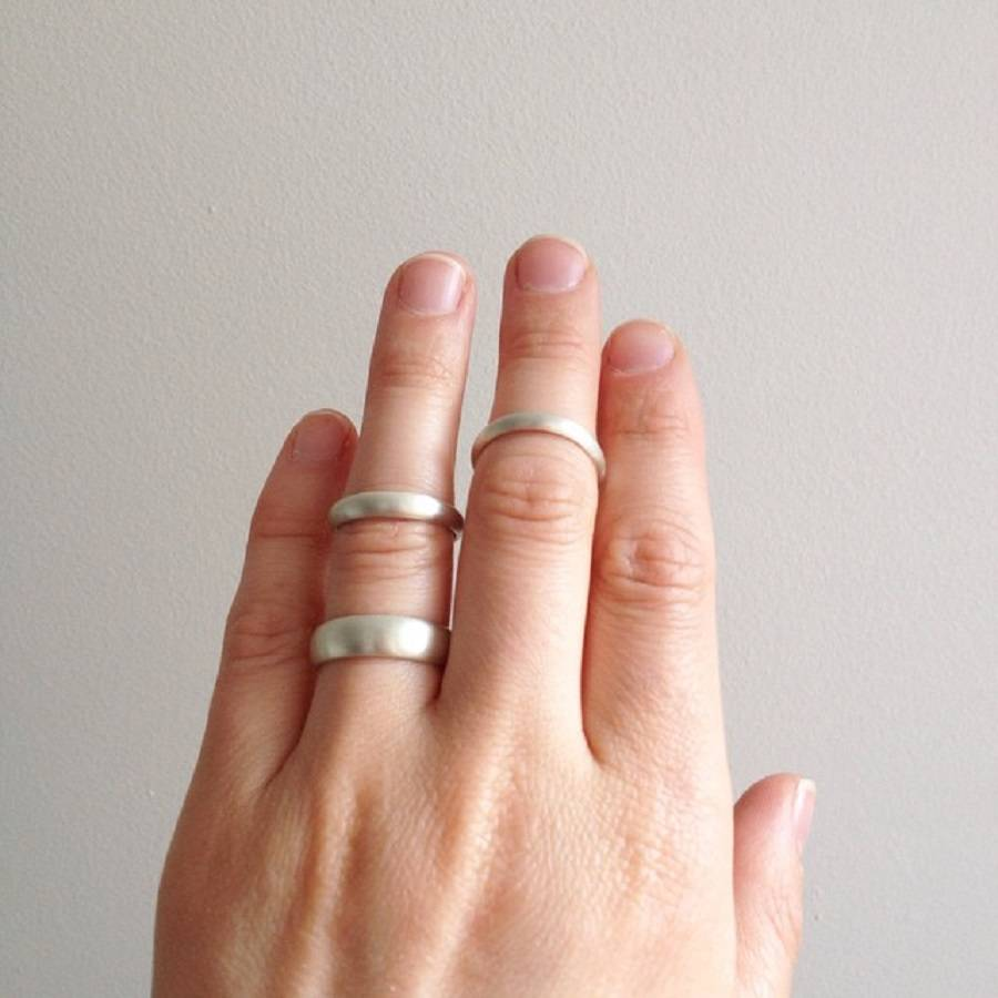 Sterling Silver D Shape Wedding Band Ring By Maapstudio