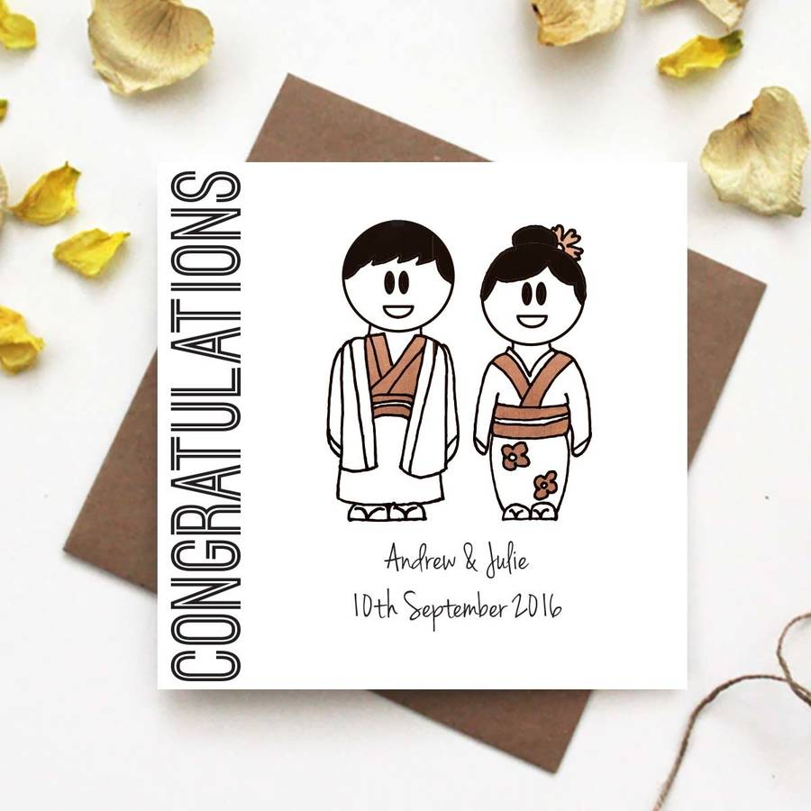 Congratulations Wedding Card Traditional Japanese Dress By