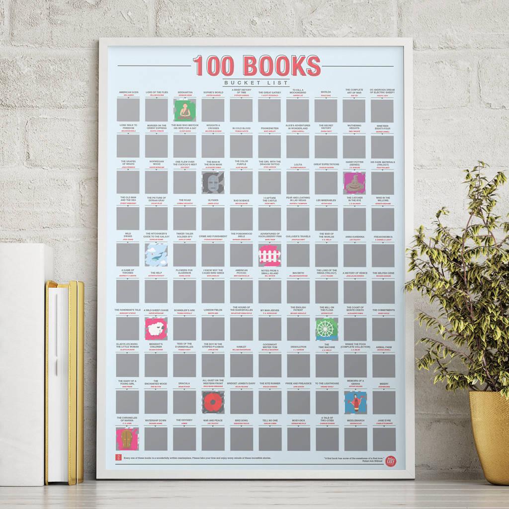 100 books scratch bucket list poster