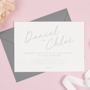 Grey And White Minimalist Rachel Wedding Invitations