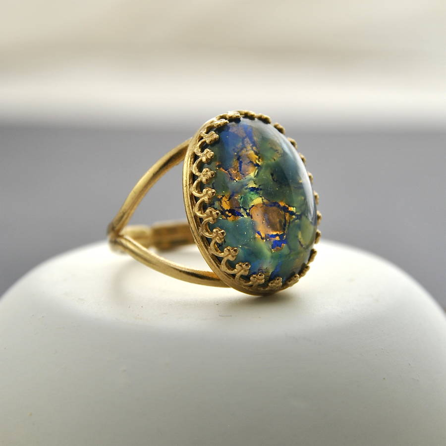 Green And Blue Fire Opal Ring By Penny Masquerade