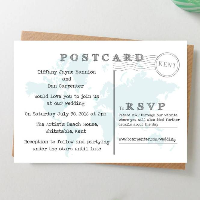 Postcard Wedding Invitations To Inspire You How Make Your Invitation With Astounding Appearance 15