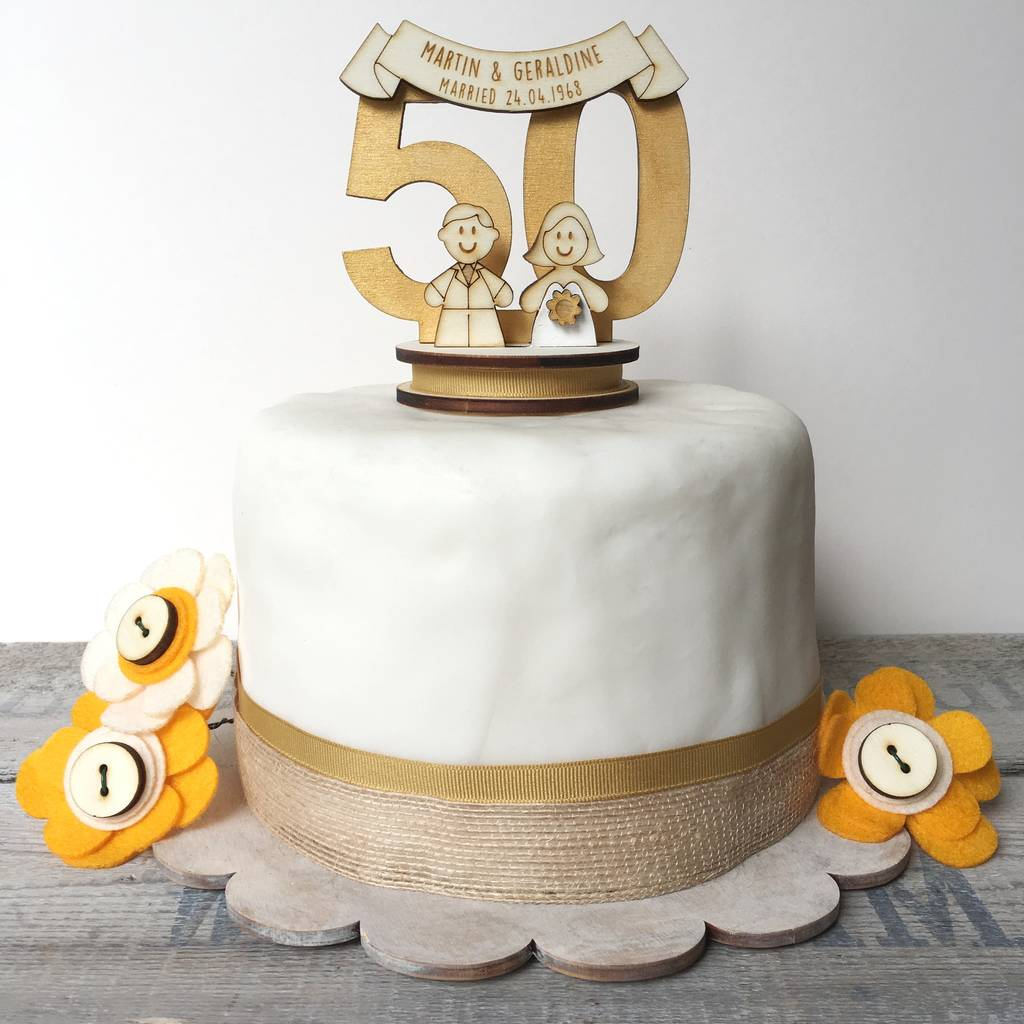 Personalised 50th Wedding Anniversary Cake Topper By Just