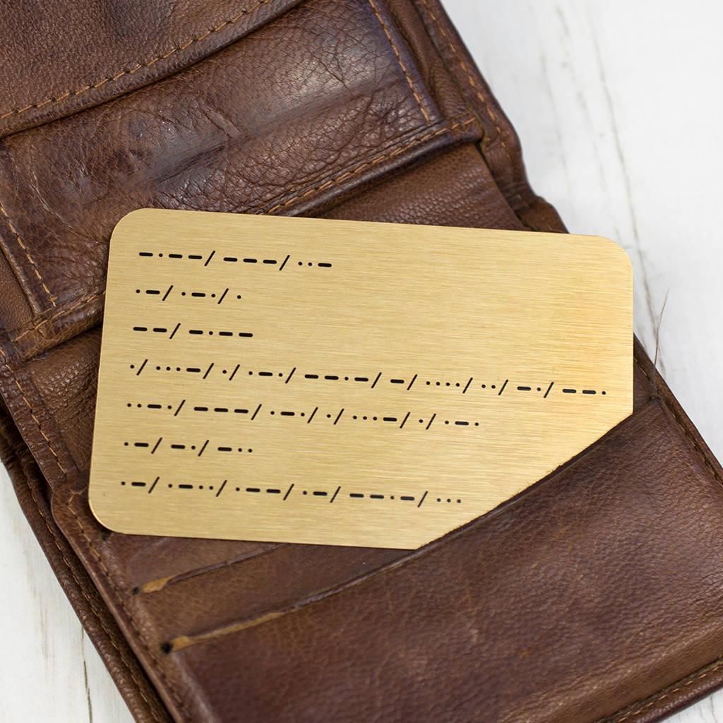 Morse Code Personalised Message Wallet Keepsake By Ellie