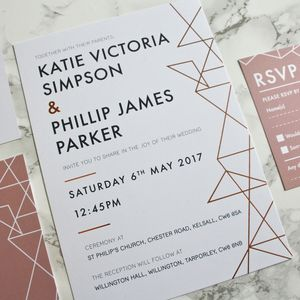Geometric Copper Foil Wedding Invites Stationery