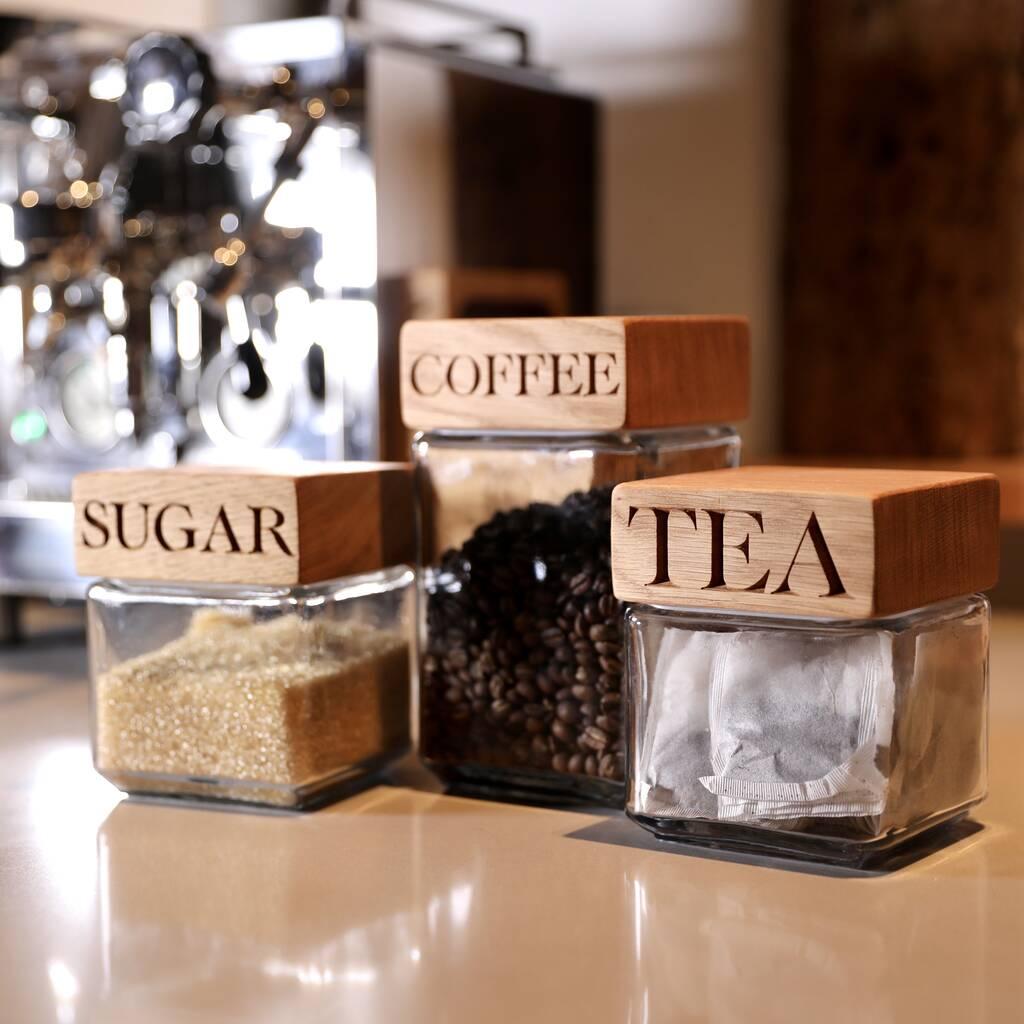 Oak Jars Tea Coffee And Sugar Set By The Oak Rope Company Notonthehighstreet Com