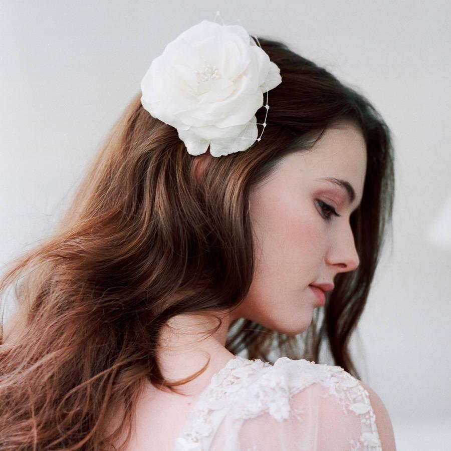 silk hair flower wedding hair b by lov lov notonthehighstreet