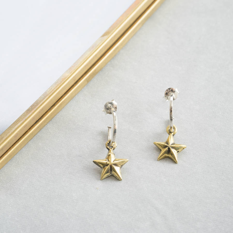 Gold Star Earrings By Silver Service Jewellery