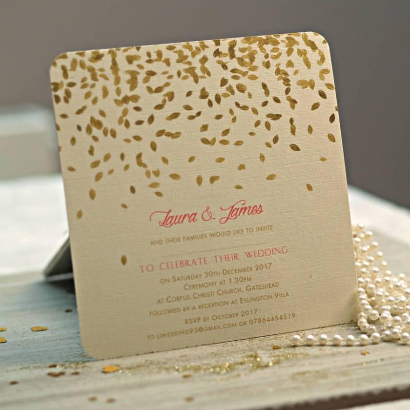 Gold Leaves Design Wedding Invitations