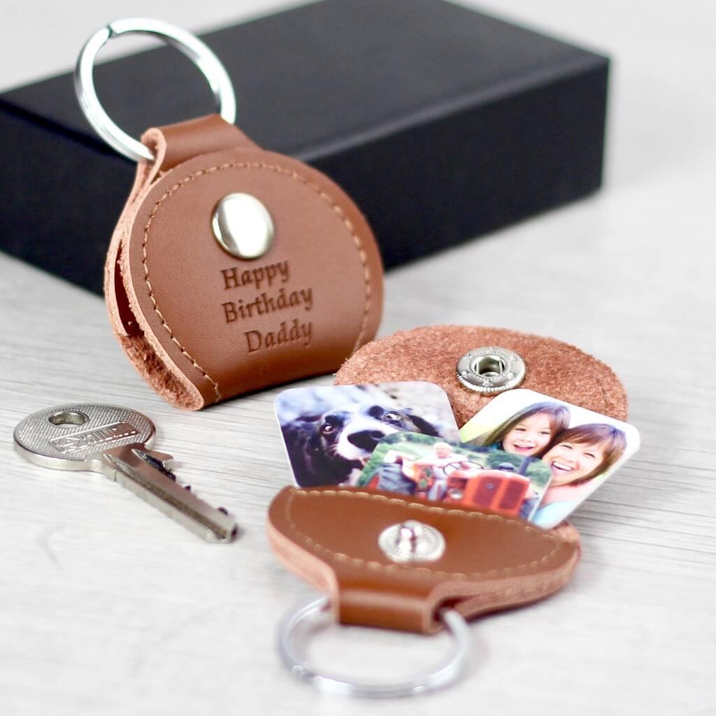 personalised photo tile leather keyring