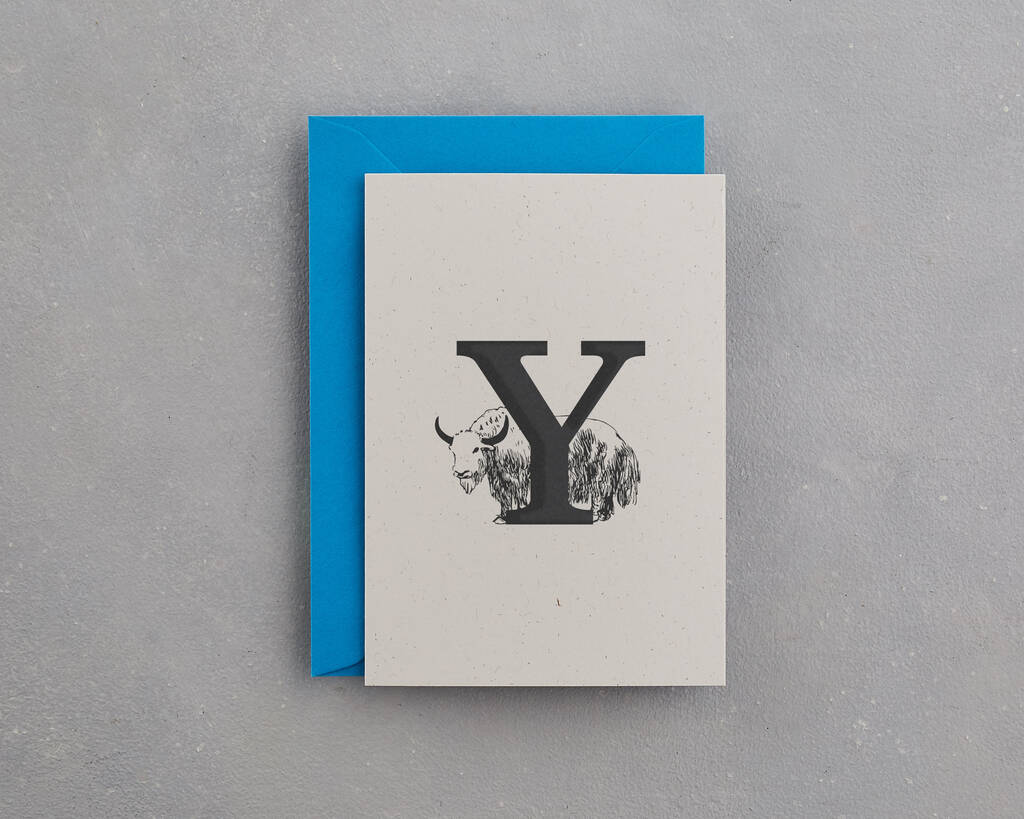 Y Is For Yak Alphabet Card By Wolf Amp Ink