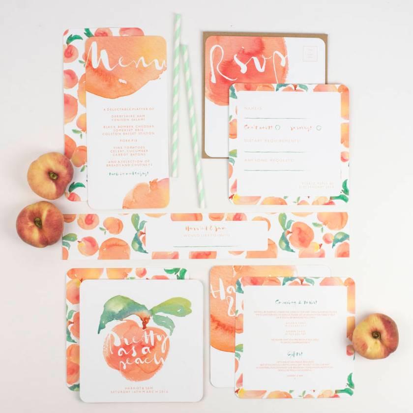 Watercolour Peach Wedding Invitation Bundle