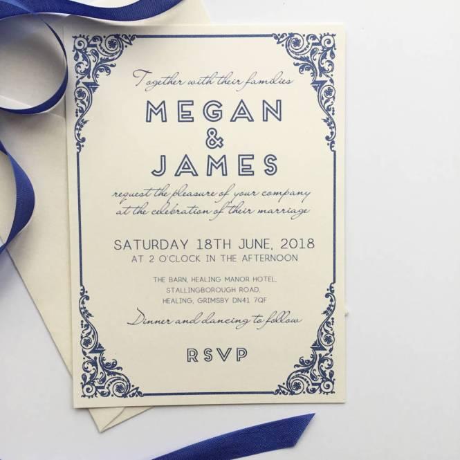 Traditional Wedding Invitation With Art Deco Border