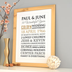 Personalised Golden Wedding Anniversary Art By A Type Of Design Notonthehighstreet