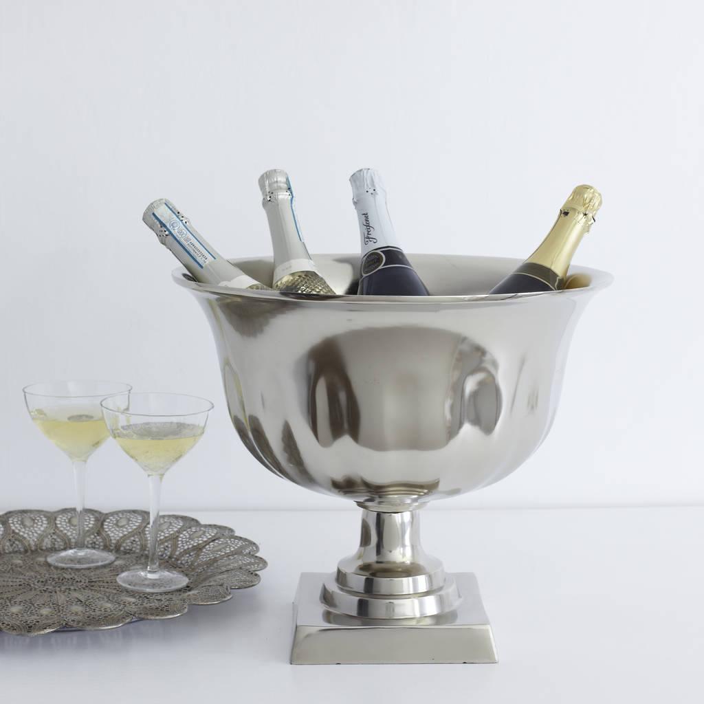 Silver Pedestal Champagne Cooler By Primrose Amp Plum