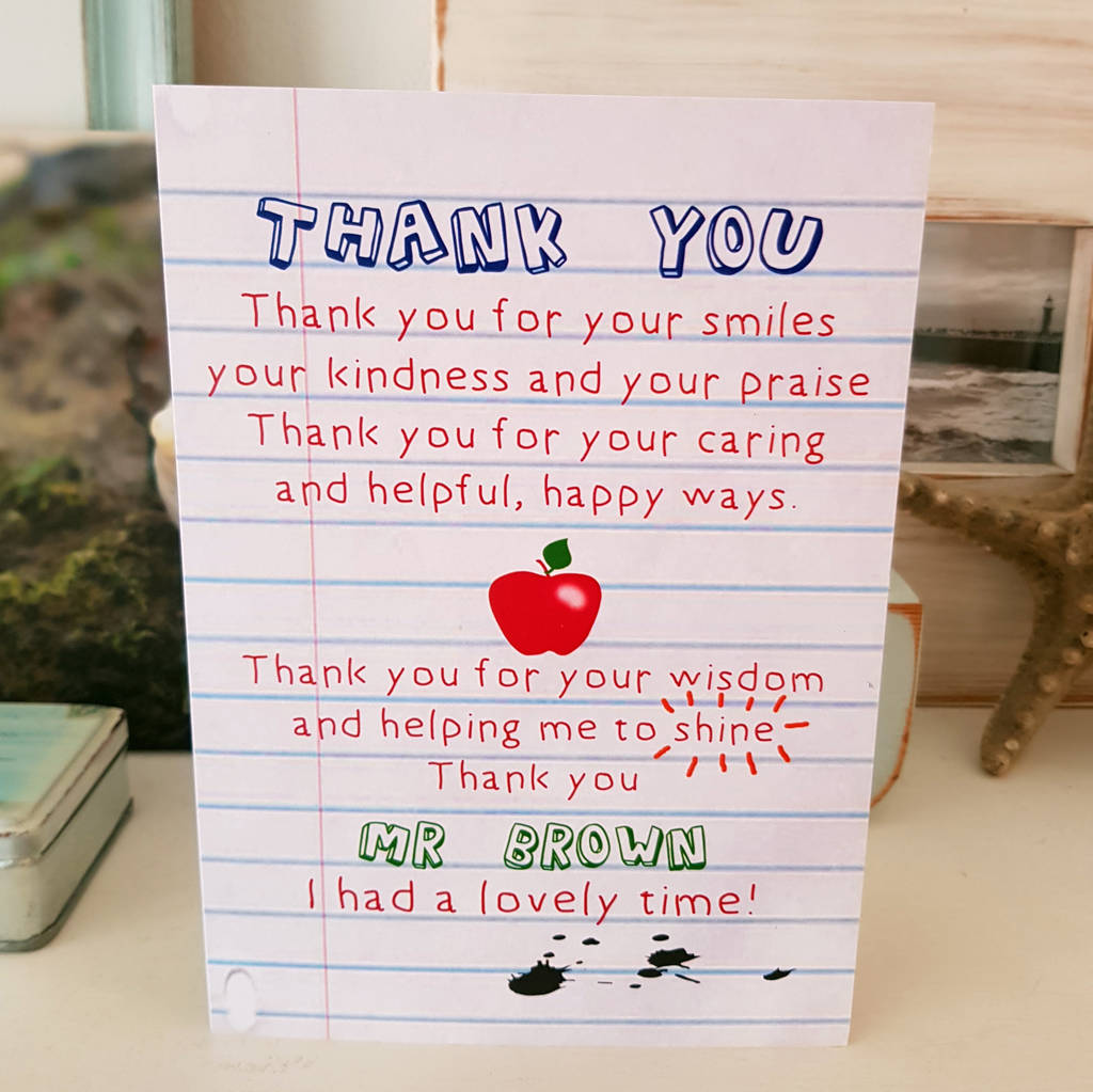 Teacher Thank You Poem Card By Giddy Kipper