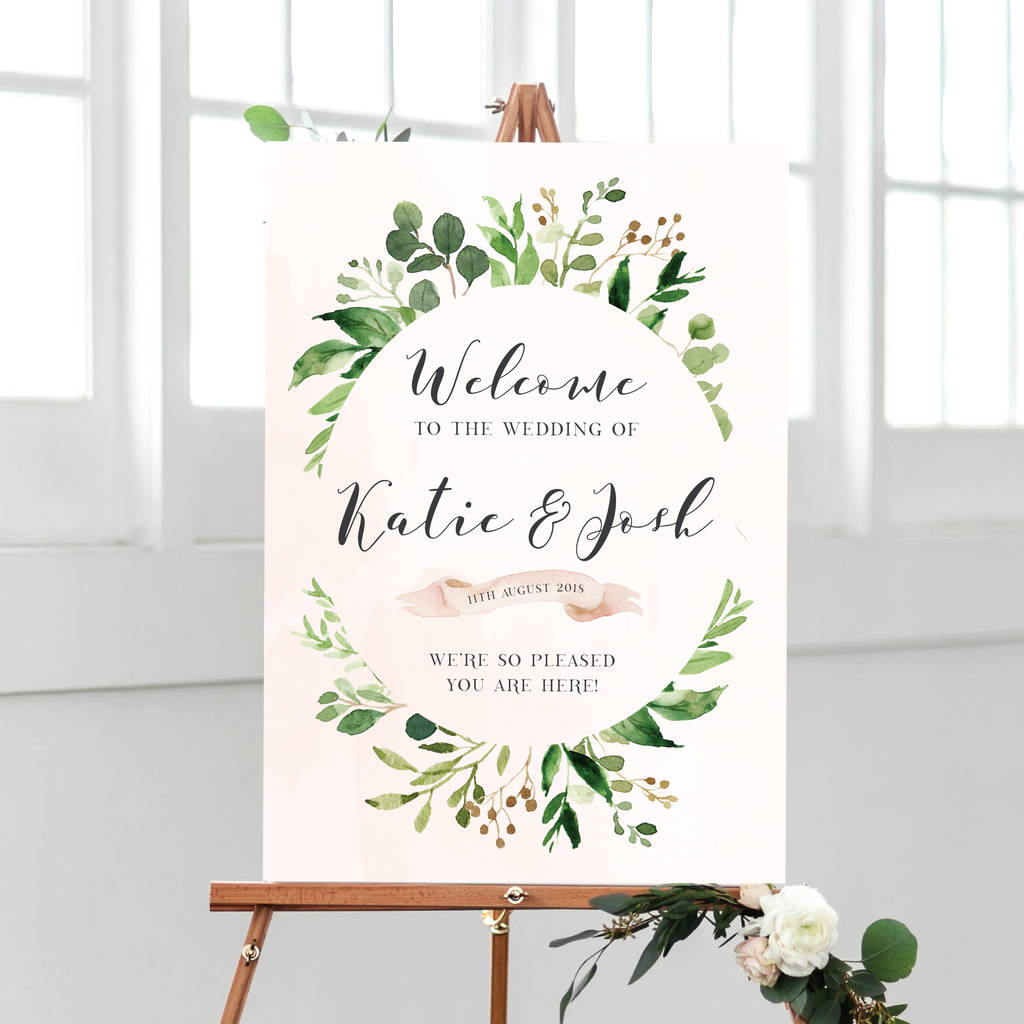 Personalised Welcome To Our Wedding Botanical Sign By Peach Wolfe Paper Co Notonthehighstreet Com