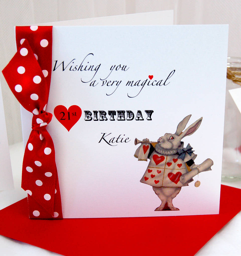 Alice In Wonderland Personalised Birthday Card By Made