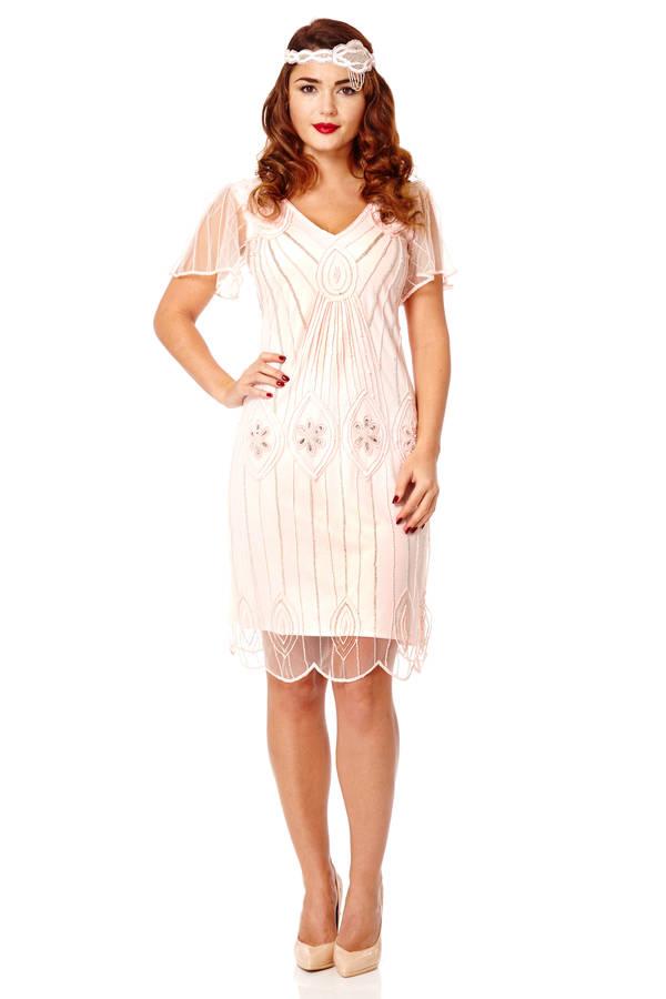 art deco flare sleeves embellished flapper dress by ...