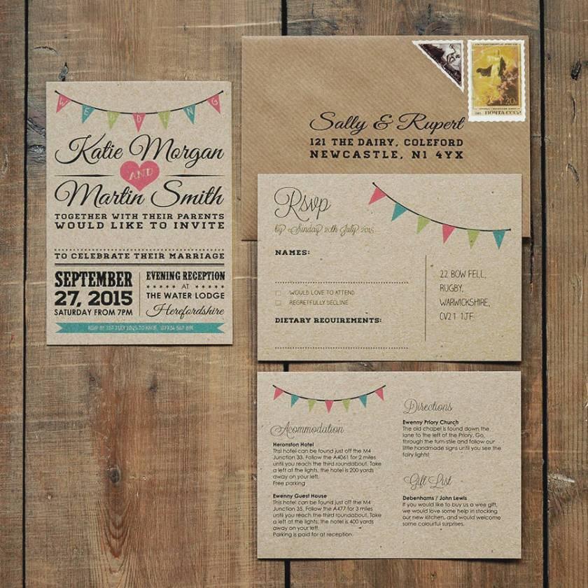 Vine Bunting Kraft Wedding Invitation