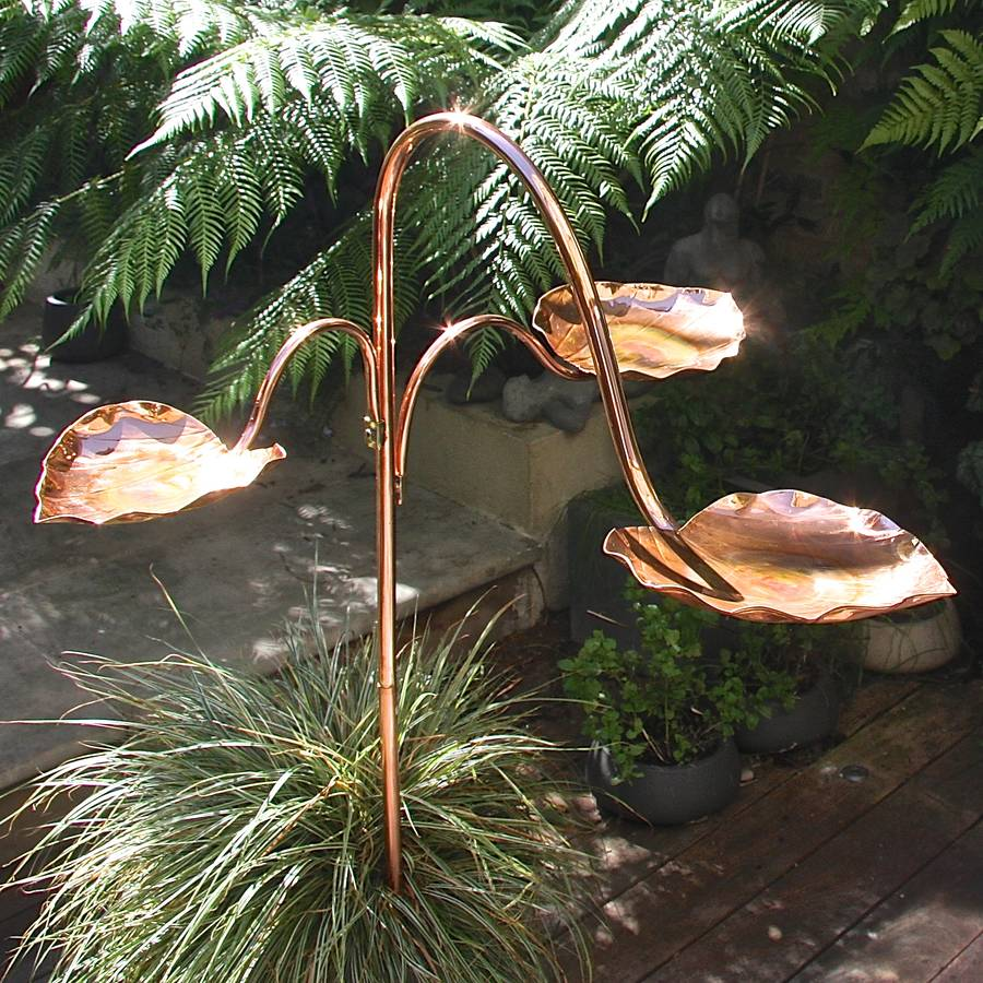 Copper Heart Birdbath Tree By London Garden Trading